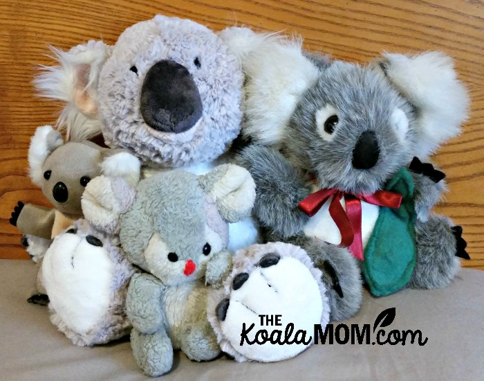 The Koala Mom's koala collection (four stuffed koalas)