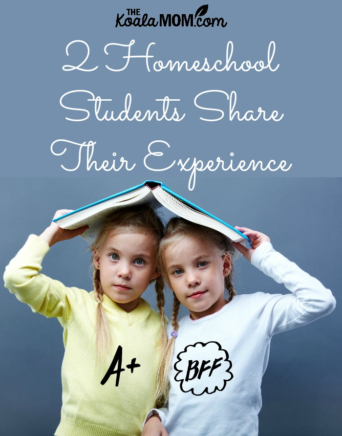 Two Homeschool Students Share Their Experience (two girls hold a book over their heads)