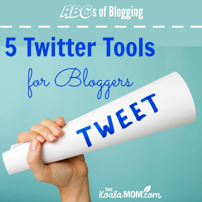 "Twitter Tools for Bloggers (hand holding paper cone with word ""tweet"" on it)"