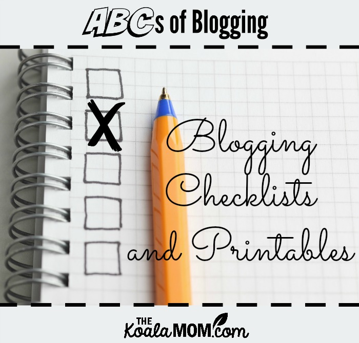 Blogging Checklists and Printables