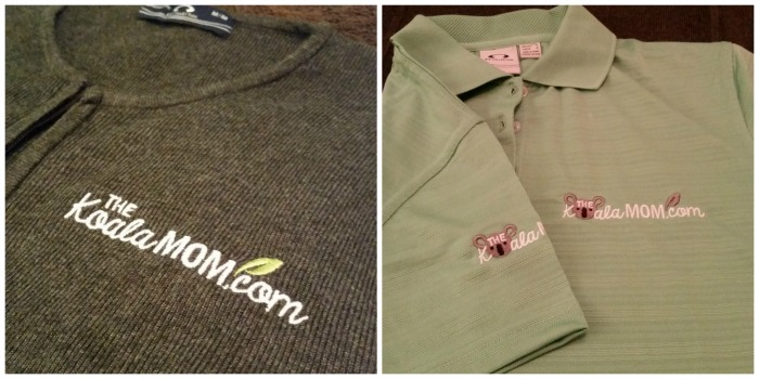 The Koala Mom logo on a polo and cardigan - school uniform style from Bravo Apparel