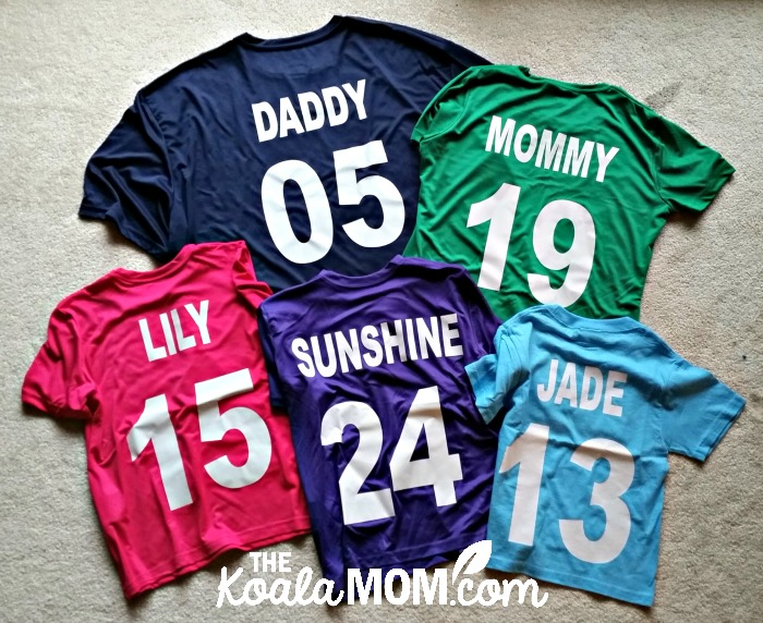 Way Family sports team jerseys from Bravo Apparel - six multi-coloured jerseys with the names Mommy, Daddy, Lily, Sunshine and Pearl