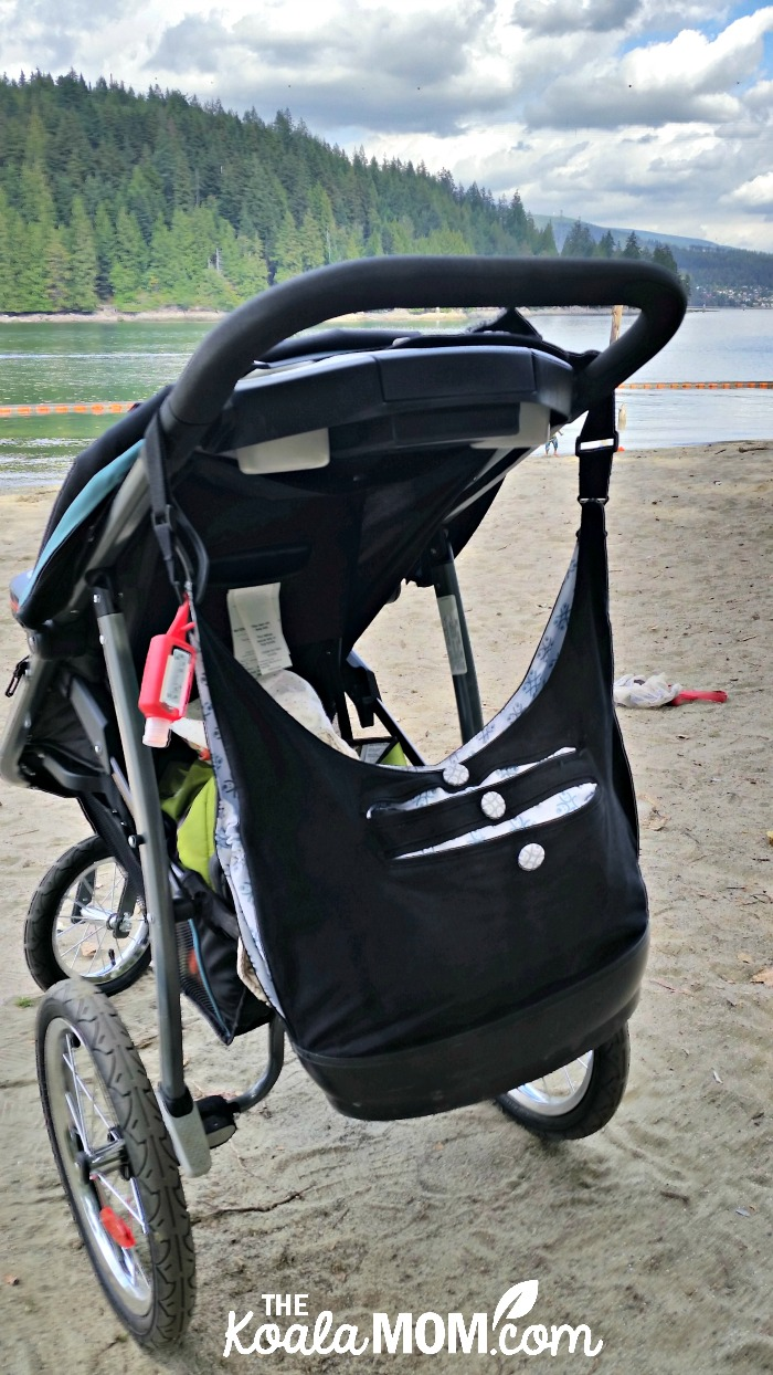 EquiptBaby diaper bag on my Graco jogging stroller at the beach