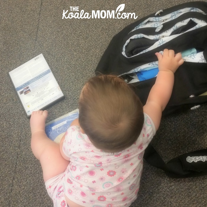 Baby playing with EquiptBaby Diaper Bag