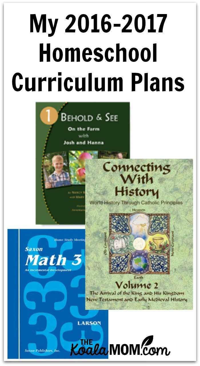 My 2016-2017 homeschool curriculum plans