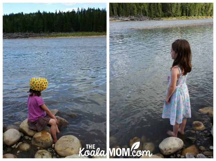 Girls playing at the North Saskatchewan River