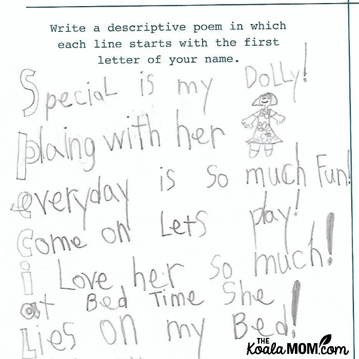 """Special is my Dolly! Playing with her Everyday is so much fun! Come on Let's Play! I love her so much! At bed time she Lies on my bed!"" A writing prompt from 642 Big Things to Write Aoubt: Young Writer's Edition"