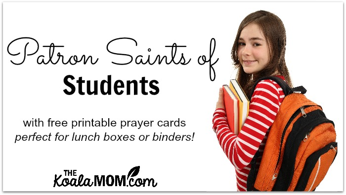 photograph regarding Printable Prayer to St. Joseph called Patron Saints of Learners (with Free of charge prayer card printables)