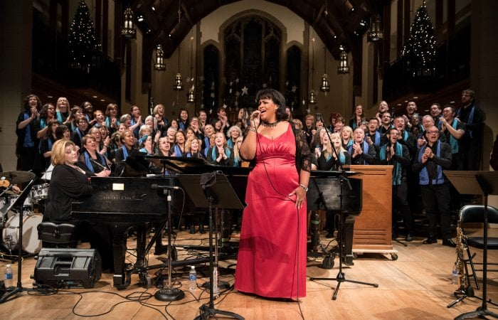 Maureen Washington with the Good Noise Gospel Choir for their Good Tidings Christmas concert at Christ Church Cathedral in Vancouver, BC.