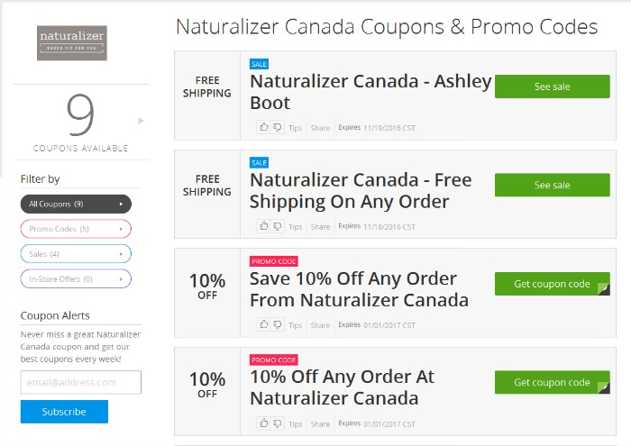 Save money with Groupon Coupons for Naturalizer Canada