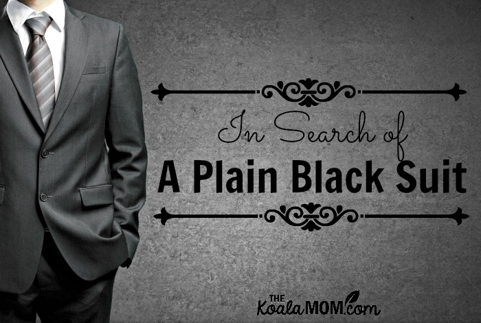 In search of a plain black suit