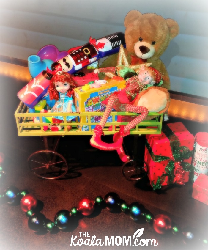 Christmas bear and decorations at FlyOver Canada