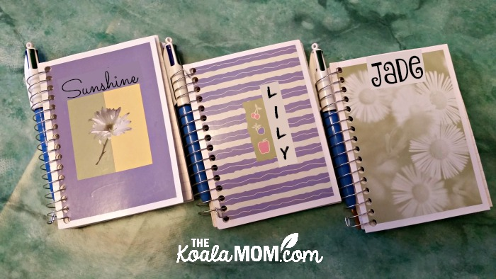 DIY road trip notebooks for my girls, ages 3 to 9