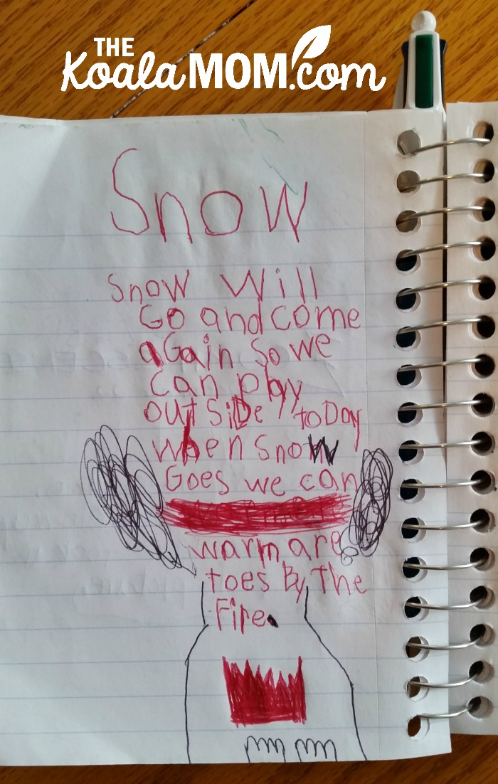 Snow poem by Lily in her road trip notebook