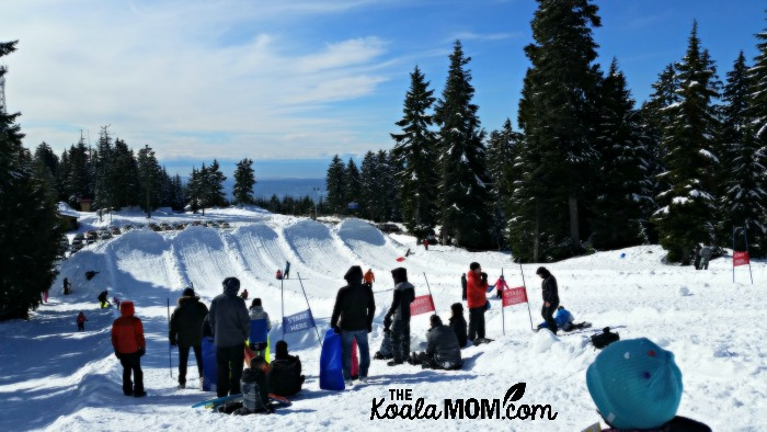At the top of Mount Seymour's tobogganing area