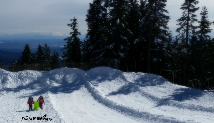 Sisters sledding at Mount Seymour