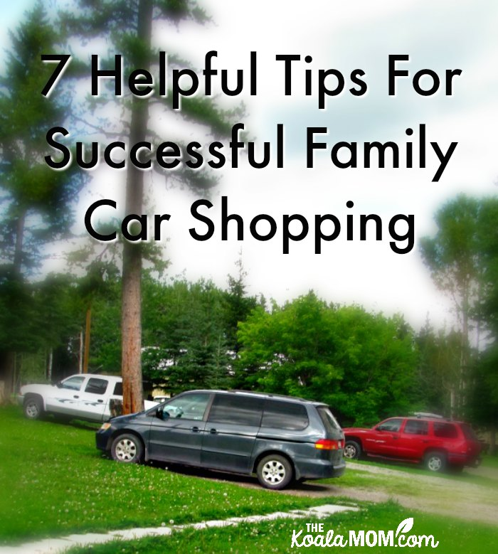 7 Helpful Tips for Successful Family Car Shopping (a minivan, truck and SUV parked together)