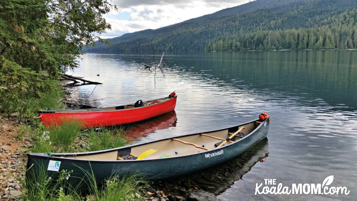 Canoes on beach at Clearwater Lake in Wells Gray Provincial Park