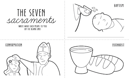 Seven Sacraments Colouring Page