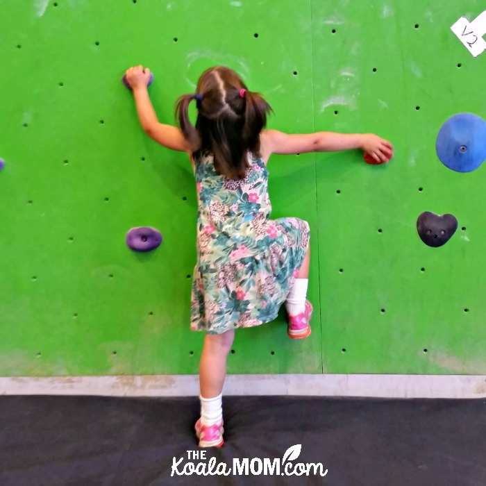 Four-year-old bouldering at Project Climbing in Cloverdale (Surrey, BC)