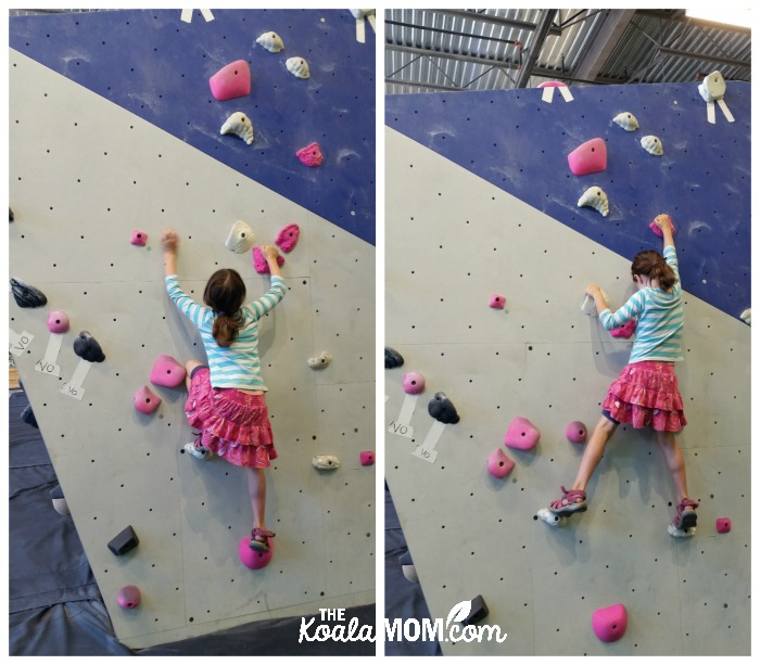 Lily bouldering at Project Climbing Cloverdale