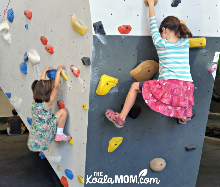 Sunshine and Lily (ages 7 and 4) bouldering together at Project Climbing Cloverdale
