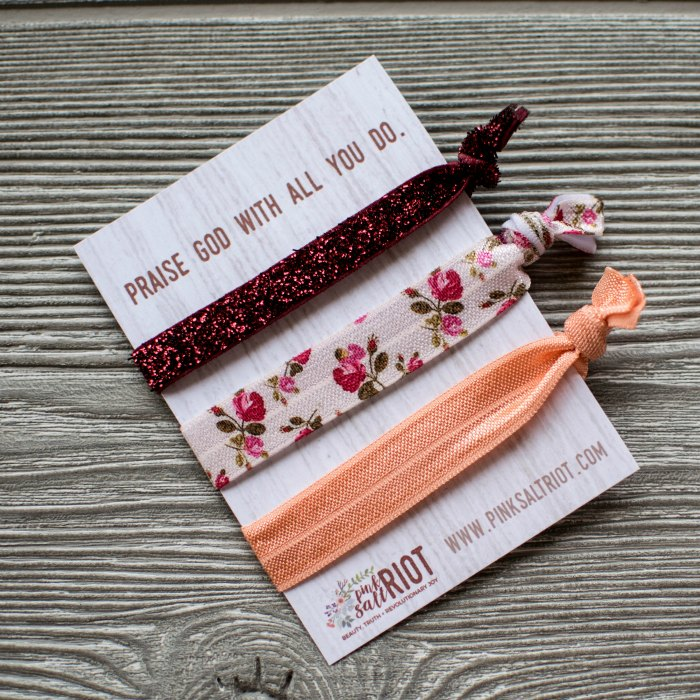 Girls' inspirational hair ties from Pink Salt Riot