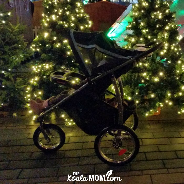 Stroller by Christmas trees