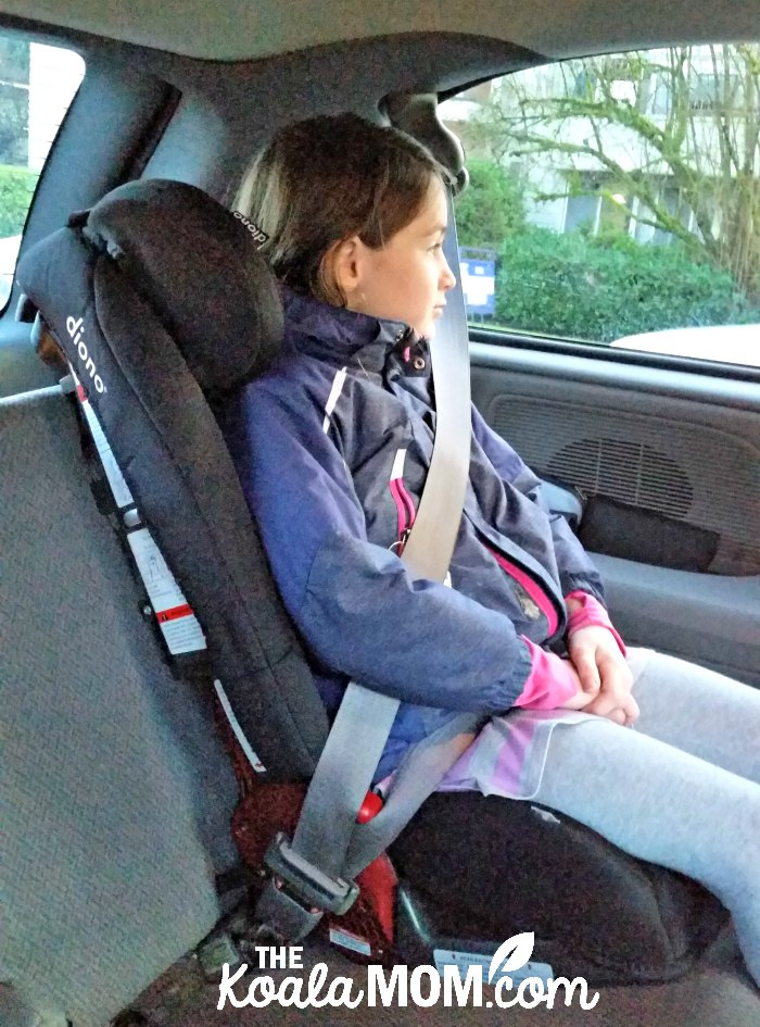 9-year-old using the Diono Radian RXT as a belt-positioning booster seat