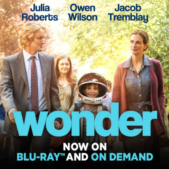 Wonder, starring Julia Roberts, Owen Wilson and Jacob Tremblay, is now available on Blu-Ray and On Demand