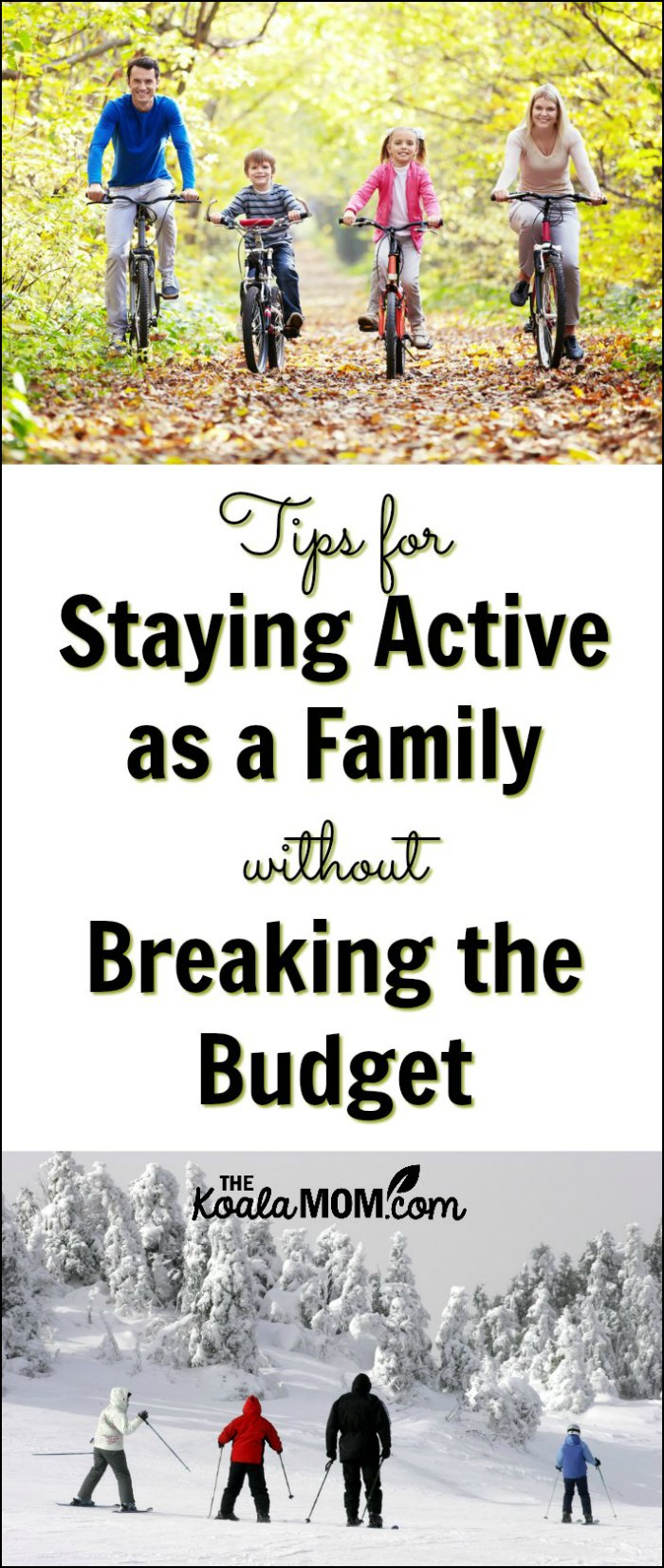 How to Stay Active as a Family without Breaking the Budget - a mom of five shares her tips for getting the family out biking, skiing, walking, skating, etc. without spending too much money!