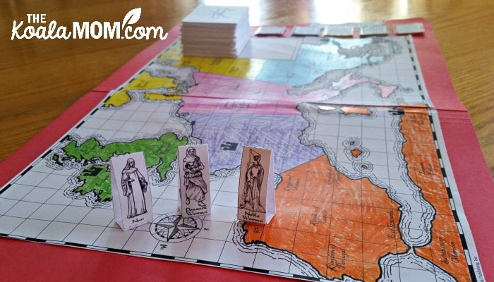 Journey through the Middle Ages game board from Home School in the Woods - make history fun for your kids with trivia questions and collectible game pieces!