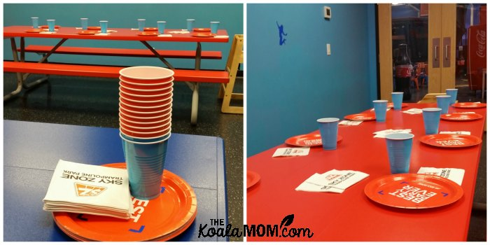 SkyZone party room, with table set for our birthday party.