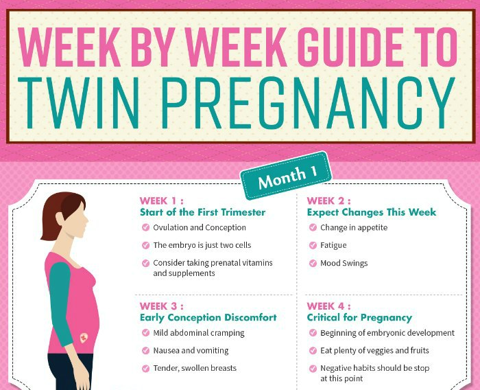 Week by Week Guide to Twin Pregnancy (infographic)