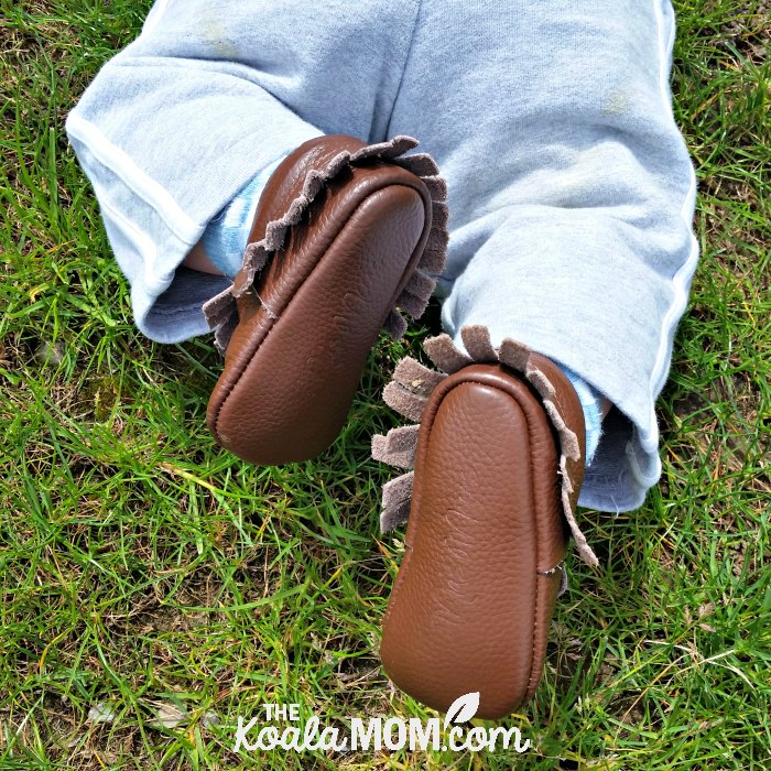 Brown baby moccasins from Mia's Moccs