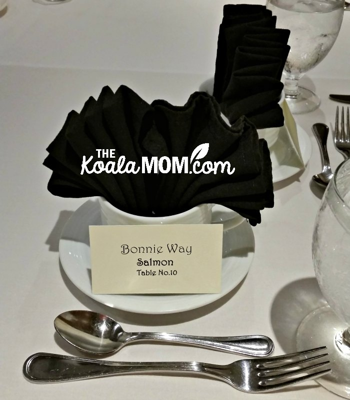 Fanny dinner setting for Bonnie Way at a fundraising gala