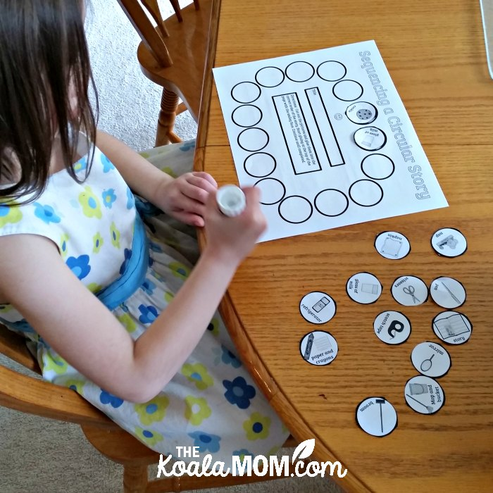 5-year-old Jade sequencing a circular story as part of the Home School Navigator language arts curriculum