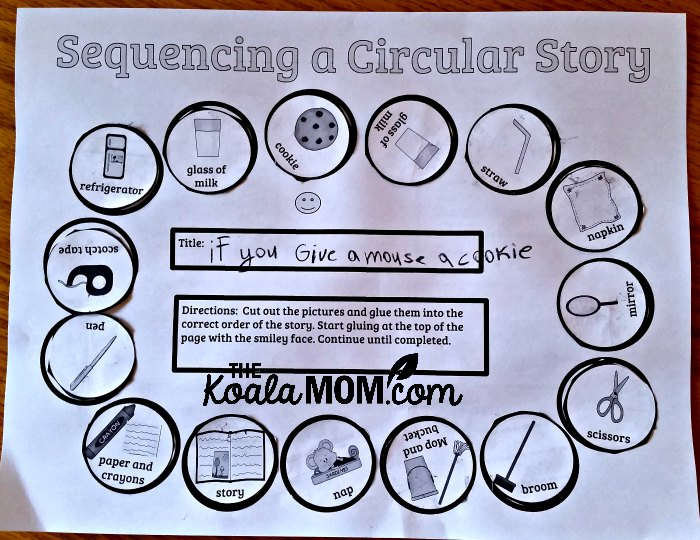 Sequencing a Circular story handout from Home School Navigator for If You Give a Mouse a Cookie by Laura Numeroff