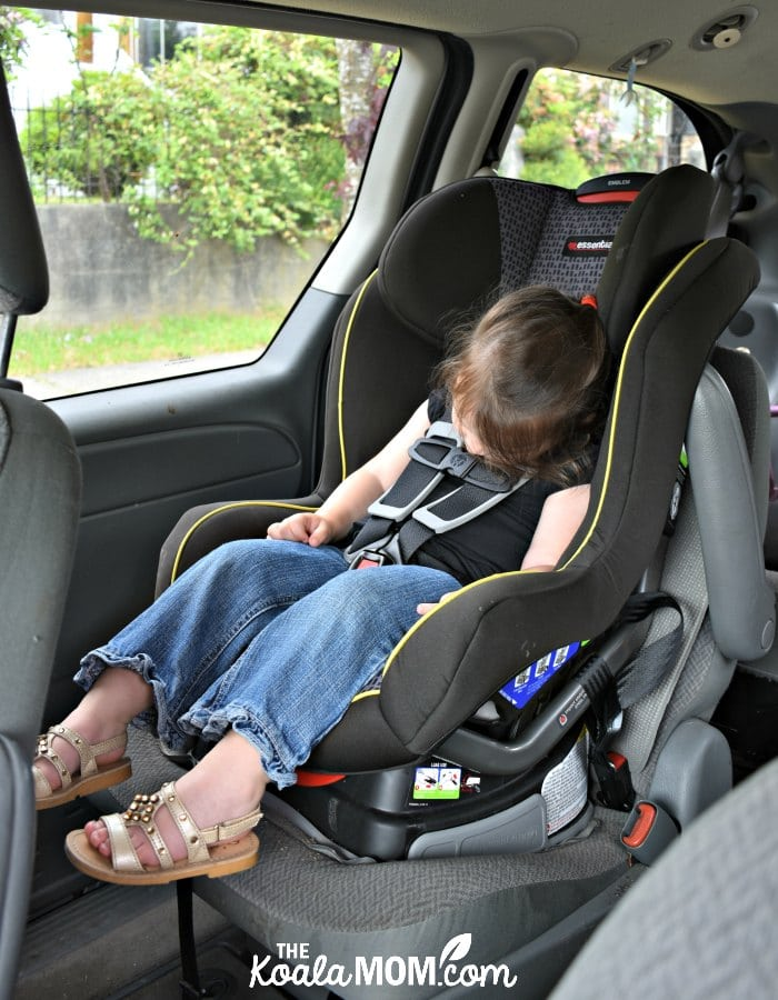 Toddler sleeping in her Britax Emblem Convertible Car Seat