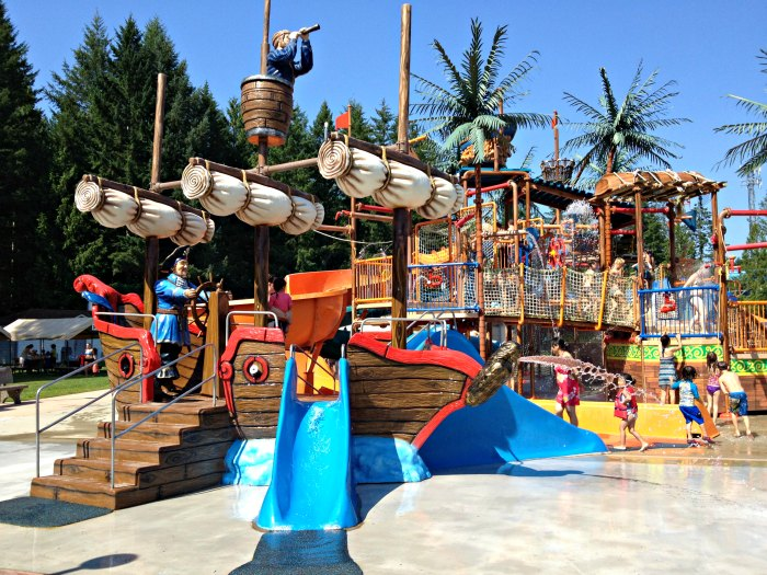 The pirate ship play area at Cultus Lake Waterpark is great for younger kids.