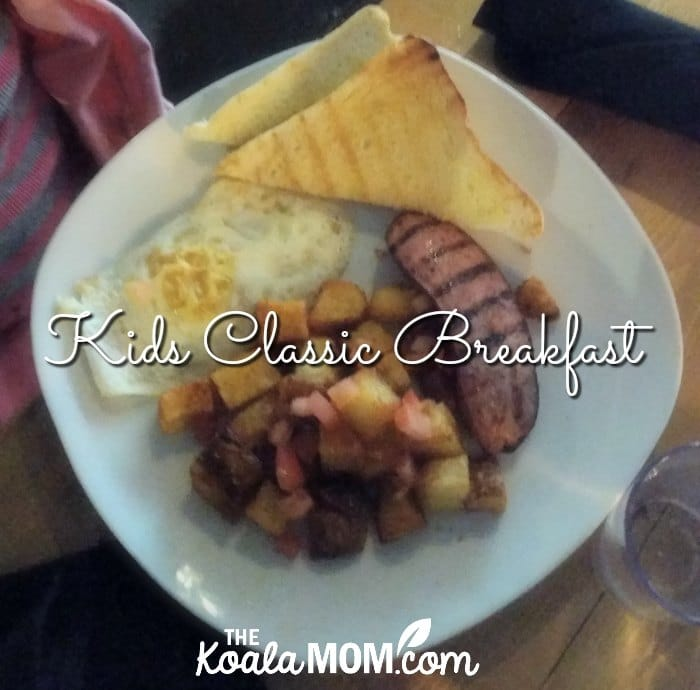 Kids classic breakfast at the Blenheim Pub - egg, toast, hash browns, and sausage