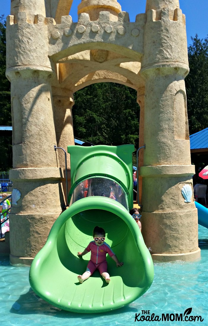 The Tot Castle is a toddler-friendly pool and slide structure at Cultus Lake Waterpark.