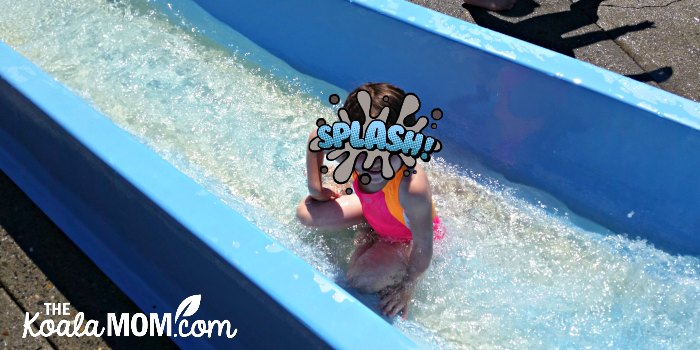 Jade rides a slide at Cultus Lake Waterpark.