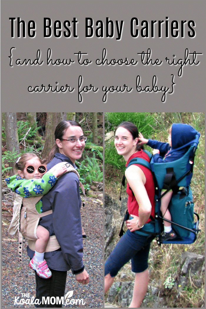 The best baby carriers (and how to choose the right carrier for your baby) - with a picture of a mom wearing two different style baby carriers