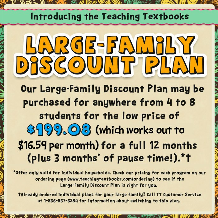 Teaching Textbooks large-family discout plan