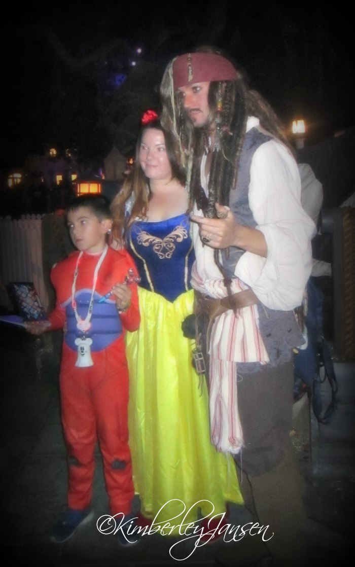 Halloween photos with Captain Jack Sparrow at Mickey's Halloween Party at the Disneyland Resort.