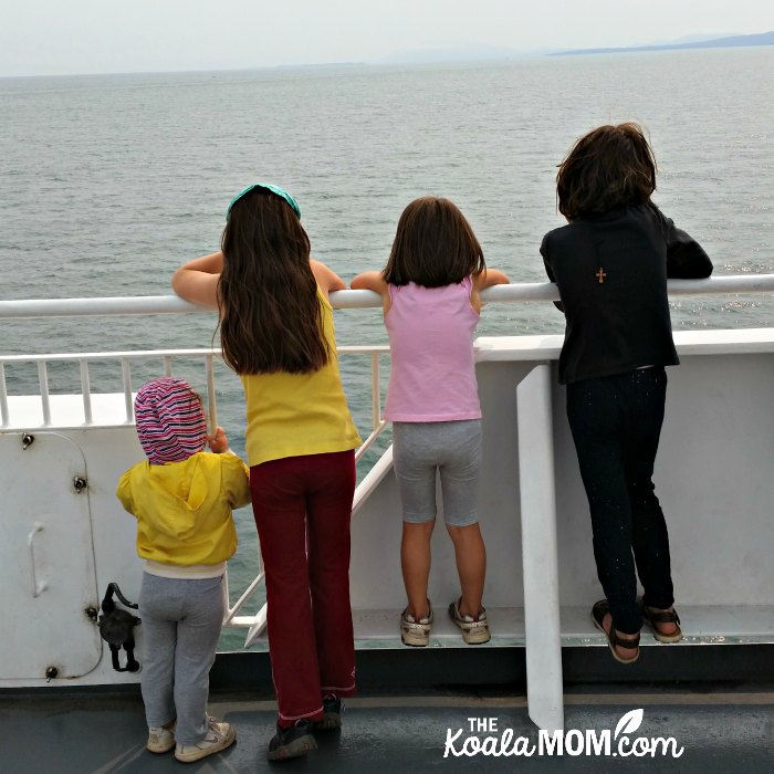 Girls watching the waves from a BC ferry on our way to family camps on Vancouver Island.