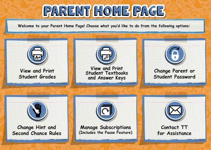 The Parent Home Page in Teaching Textbooks 3.0