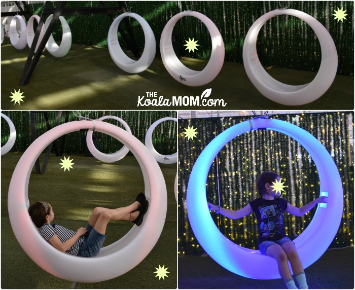 LED glowing swings at Glow Harvest in Langley, BC