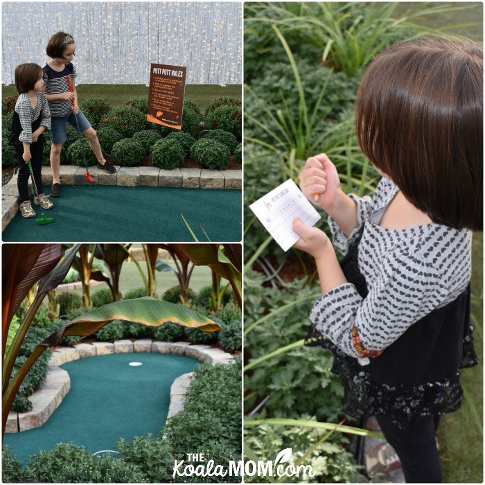 Playing mini-golf at Harvest Glow